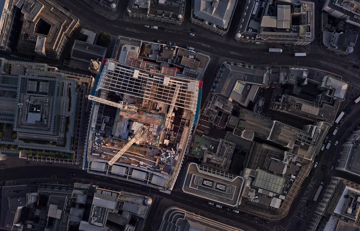 Aerial photograp of a Construction Site in central London