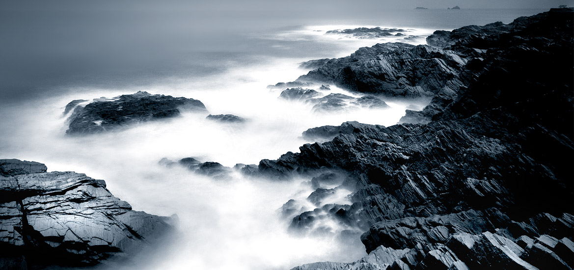 Long exposure of the sea and coastline in Cornwall