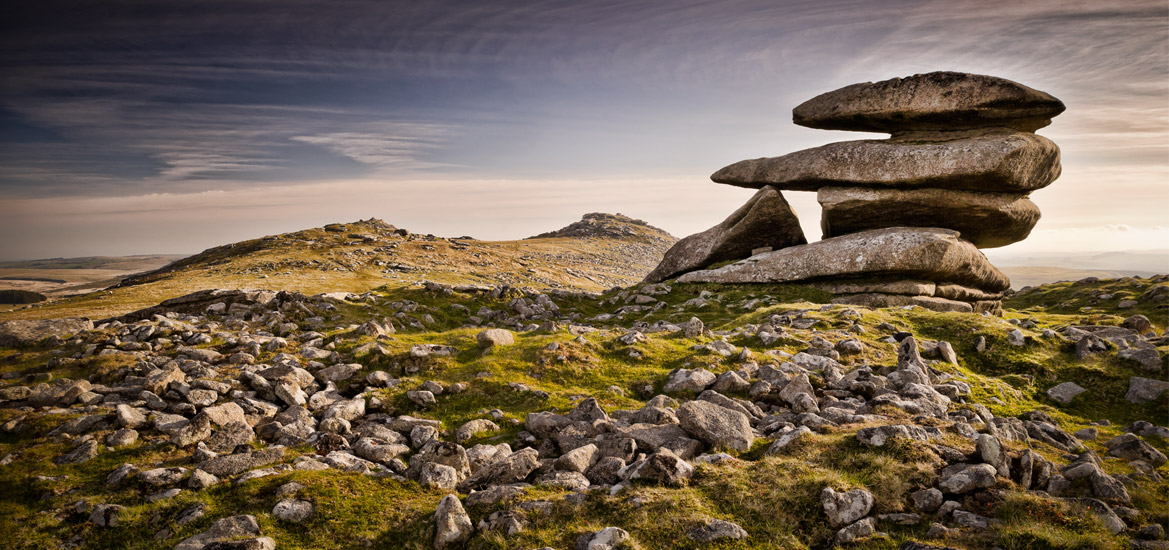 The rock formation at Showery Tor on Bodmin Moor, Cornwall