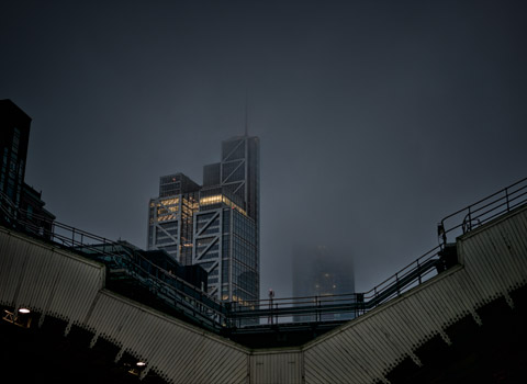 Heron Tower in the fog from Liverpool Street Station