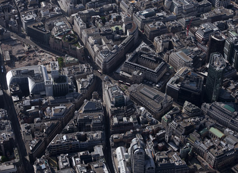 Central London from a helicopter