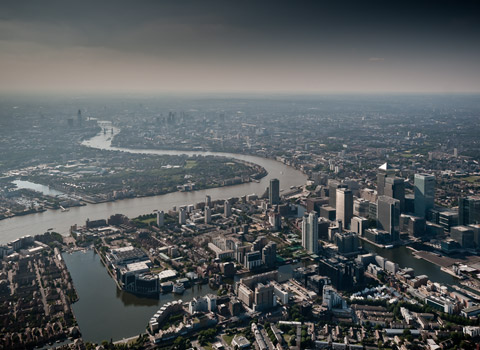 London photographed from the air